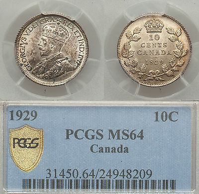 1929 10c Canada NGC MS64 silver