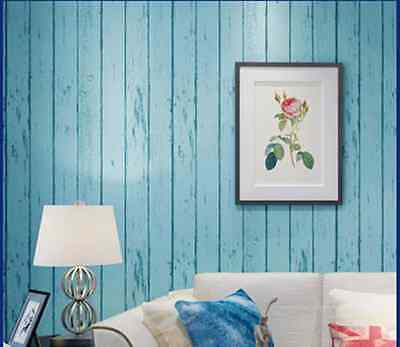 Blue Wood Optic Panelling Timber Plank Wood Panel Effect Wallpaper-10M Roll