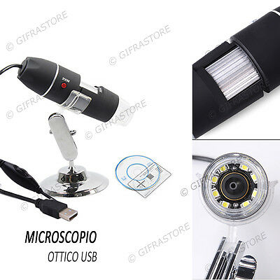 Microscopio Usb Ottico Digitale 50X 500X  8 Led Endoscopio 2 Mpx Foto Video