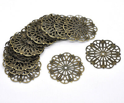 50 Bronze Tone Flowers Filigree Charms Hollow Wrap Connectors Embellishment 41mm