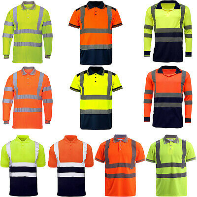 Hi Viz Vis High Visibility Polo Shirt Reflective Tape Safety Security Work Top