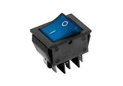 Interruttore a bilanciere 220V 16A bipolare tasto blu luminoso 12V switch 31x25