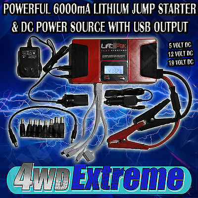 Lithium Jump Starter And Dc Power Source Supply Charger Usb 12V  Lfp-Pak 600A