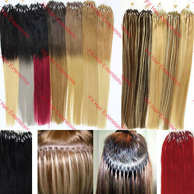 """New 100S 16""""0.4g/s Micro Ring Beads Loop Tip Remy Human Hair Extensions Straight"""