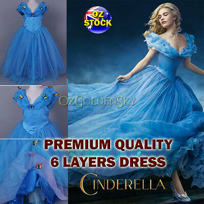 Girls Disney Cinderella 2015 Costume BallGown Birthday Tutu Princess Dress 2-10Y