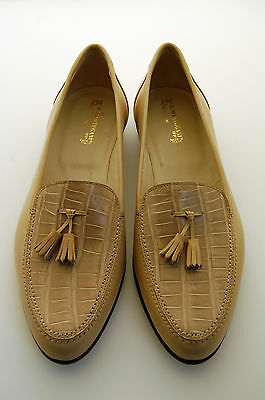 MAN - 44 - 10eu - PENNY LOAFER-GENUINE BEIGE ALLIGATOR & CALF-LTH SOLE-BLAKE CST