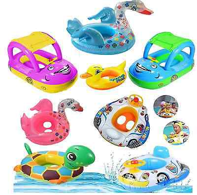 Baby Kids Toddler Swimming Pool Swim Seat Float Boat Ring FUN Cartoon Designs