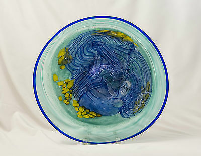 "Blue Lagoon 18"" Flat Platter in Blues/Yellows/Greens, Art Glass by Gayle Weyland"