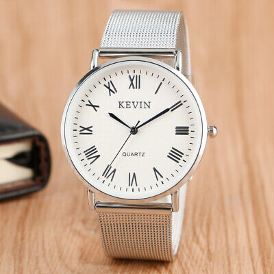 Kevin Mens Casual Women Silver Stainless Steel Web Band Quartz Wrist Watch Gift