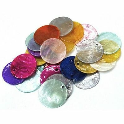 100PCS Mixed Dyed Flat Round Shell Pendants Necklace Charms Jewelry DIY Findings