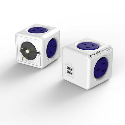 Allocac Powercube 4 Power Outlets 2USB Ports wireless pop up Blue Local Stock