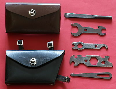 Lot of 2 Vintage Bicycle Leather Bag and Tools - ORIGINAL - 1960's