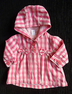 Baby clothes GIRL 0-3m NEXT lightweight cotton lined pink check coat/jacket hood