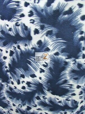 "FLEECE PRINTED FABRIC ANIMAL LEOPARD - Hurricane Navy Blue - 60"" WIDTH BTY 928"