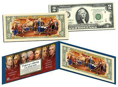 FOUNDING FATHERS OF THE UNITED STATES Colorized Reverse $2 Bill US Legal Tender