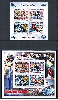 TCHAD 2014 MiNr: 2698 - 2701 IMPERF OLYMPIC GAMES SOCHI SPACE COSMOS SET 3 SCAN