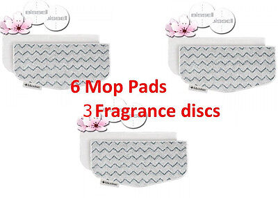 Bissell PowerFresh Steam Mop Pads Compatible, 6 pk, 3 Fragrance discs, 5938