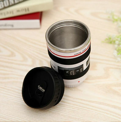 Canon Caniam EF 24-105mm Camera Lens Thermos Stainless Steel Tea Mug Cup White
