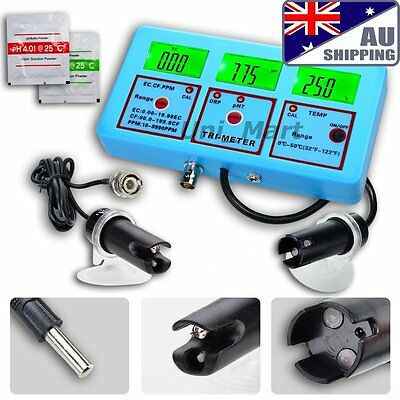 AU Ship 6 in 1 Water Quality Tester PH Meter Aquarium EC CF TDS ORP Temp Monitor