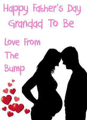 1st cuddle Grandad from bump Happy Father/'s A5 Personalised Greeting Cardpidb416