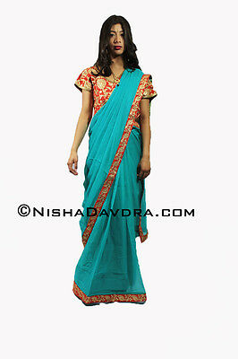 Blue Saree with Red blouse Georgette Bollywood Indian Sari Navratri Diwali