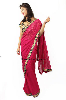 Saree Deep Hot Pink with Black blouse Georgette Bollywood Indian