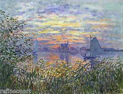 Sunset on the Seine by Claude Monet Giclee Print Repro on Canvas