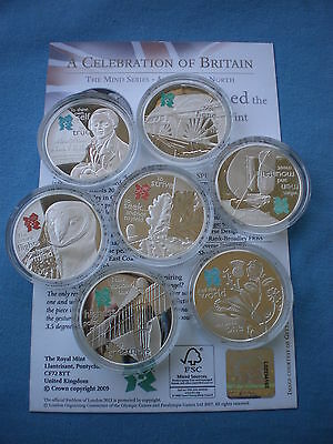 2009 2010 Royal Mint London 2012 Uk £5 Silver Proof Celebration Of Britain Coins