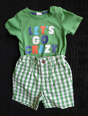 Baby clothes BOY 9-12m NEXT green/white check shorts/green bodysuit/top NEW!
