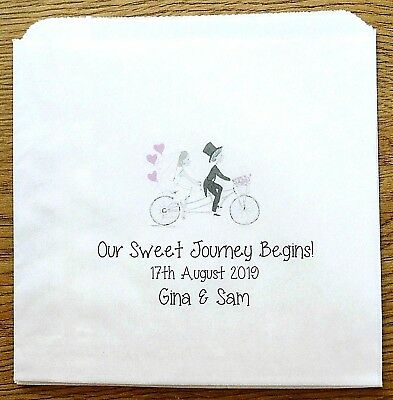 Personalised White Paper Sweet Bags for Wedding Favour Candy Cart Buffet