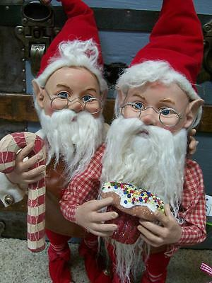 "Set 2 NWT 20"" Santas Elves ELF Candy Cane Stripe Christmas Figurine Doll Prop"