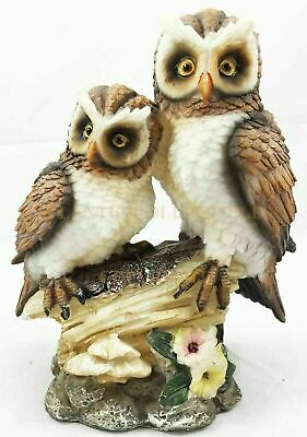 Great Horned Tiger Owls Perching On Branch Bird Aves Statue Collectible Figurine
