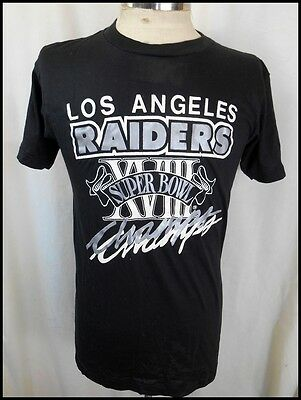 Vintage 1984 Black Poly/Cotton L.A. Raiders Superbowl Champs T-shirt M LIKE NEW!