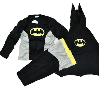 NEW Sz 2~8 KIDS COSTUME BATMAN MUSCULAR OUTFIT BOYS TODDLER DRESS UP SUPERHERO
