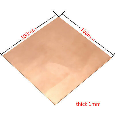 99.9% Pure Copper Cu Metal Sheet Plate 100x100x1mm For Handicraft Aerospace