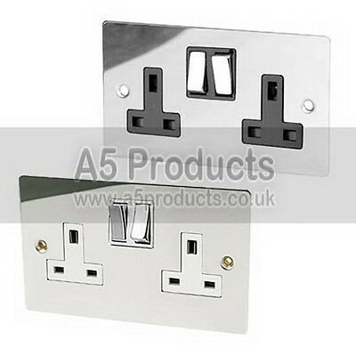 13 Amp Wall Double Plug Socket 2 Gang Polished Chrome FLAT Plate Silver Effect