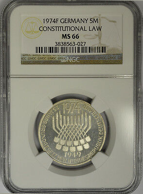1974 F Germany 5 Mark Silver, NGC MS66. Constitutional Law. Proof Like