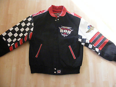 Vintage New Men's Indy 500 Numbered Leather Jacket-Size Large Highly Collectible