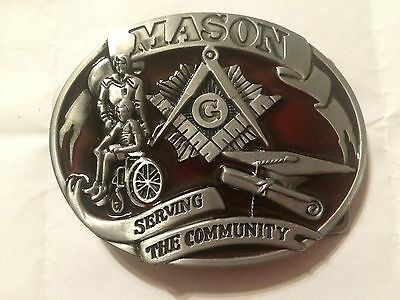 Masonic - Pewter Mason Belt Buckle - Serving The Community
