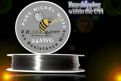 Ni200 - 100 ft 24 Gauge AWG Pure Nickel 200 Non Resistance Wire .51mm 24g 100'