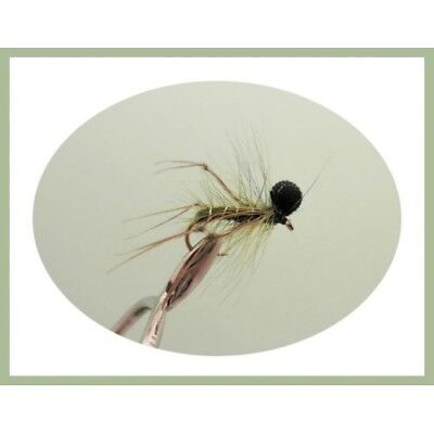 6 Olive Booby Hopper Trout Fishing Flies - Size 10 - TOP SELLER