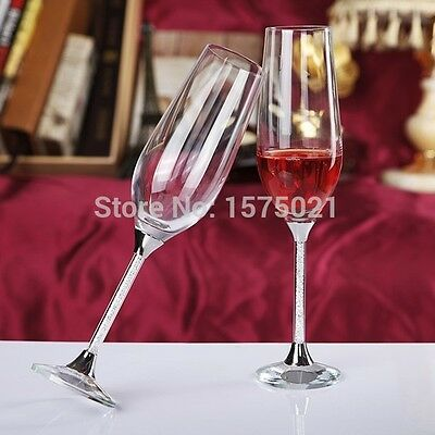 Crystal Beads Stems-Wedding-Champagne Toasting Glasses Flutes-Silver Detail