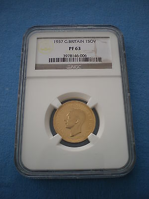 Rare 1937 King George Vi Ngc Proof 63 Full Gold Sovereign Coin