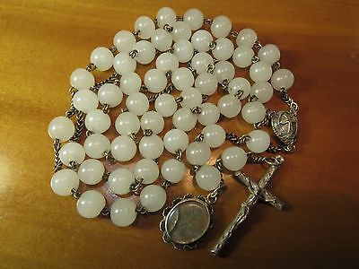 Large Late 1800s Antique Opaline Beads Rosary-Puffed Cross/Medal, Rare Medal