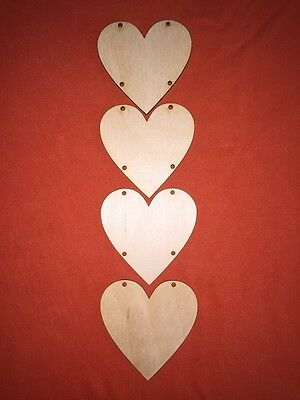 2 sets of 4 HEARTS 8cm (4 holes)  PLAIN BLANK WOODEN HANGING SHAPE PLAQUE TAG