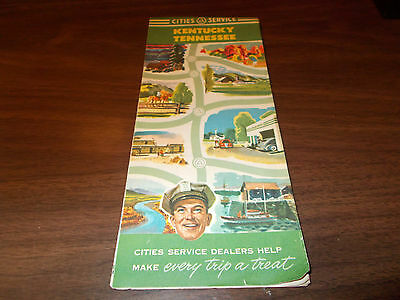 1951 Cities Service Kentucky/Tennessee Vintage Road Map