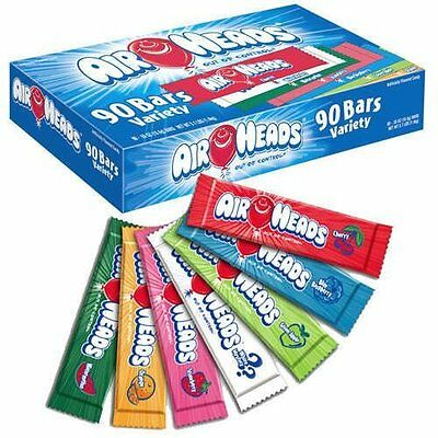 90 ct Air Heads Variety Pack .55 oz chewy fruit flavor candy sweet treat strip