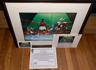 Warner Brothers Cel Signed Muhammad Ali EMPTY THAT GLOVE Rare with 2 Promo items