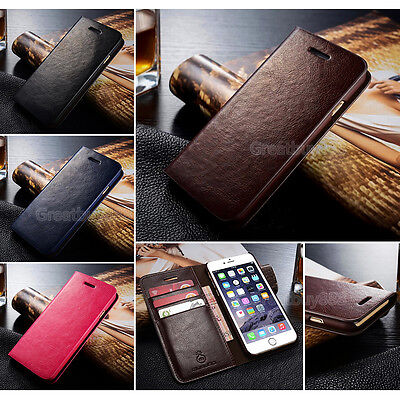 Genuine Real Leather Wallet Card Flip Phone Case for iPhone 5 6S 7 8Plus&Samsung