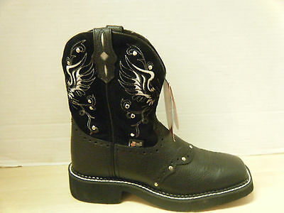 Cowgirl Boots Justin Ladies Gypsy Black Boots w/ Studs (Style # L9977 )